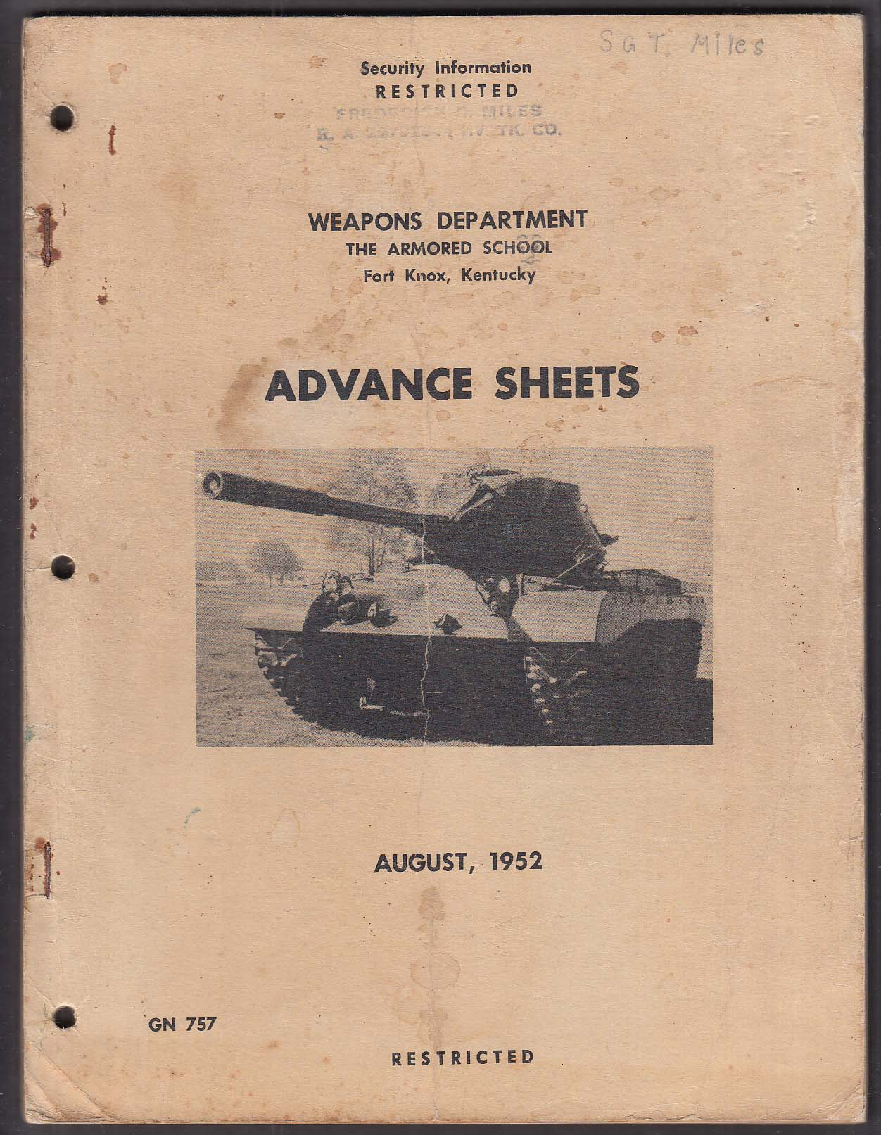 Fort Knox KY Weapons Department Advance Sheets 8/1952