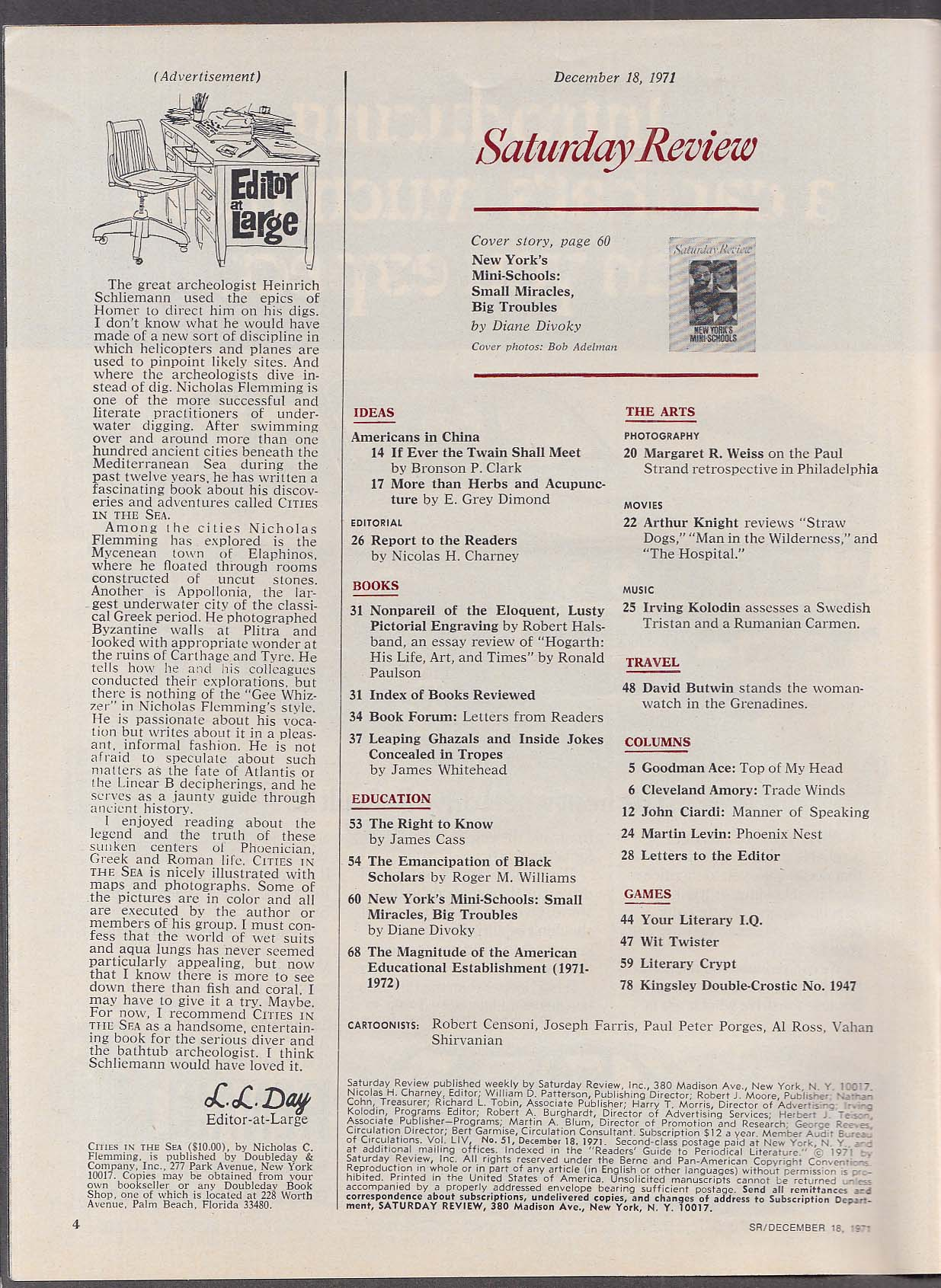 SATURDAY REVIEW New York City Harambee Wingate Prep ++ 12/18 1971