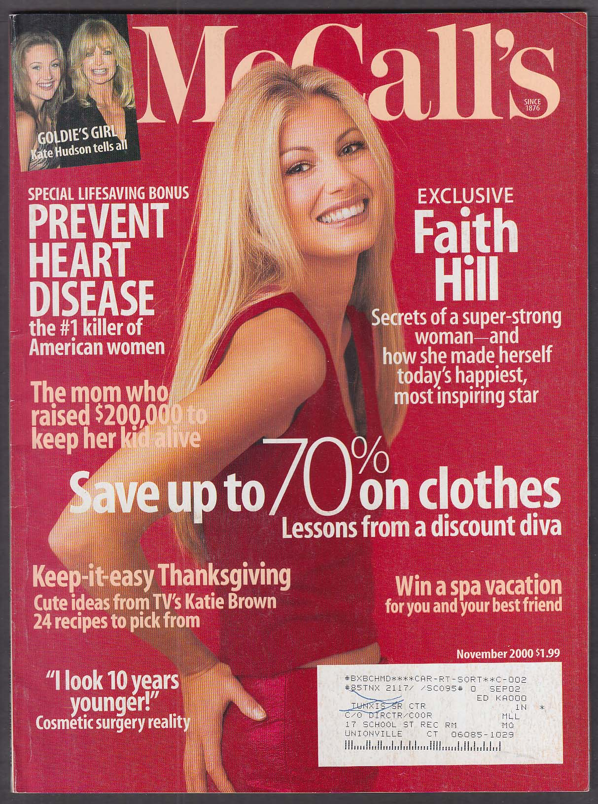 McCALL'S Faith Hill, Kate Hudson 11 2000