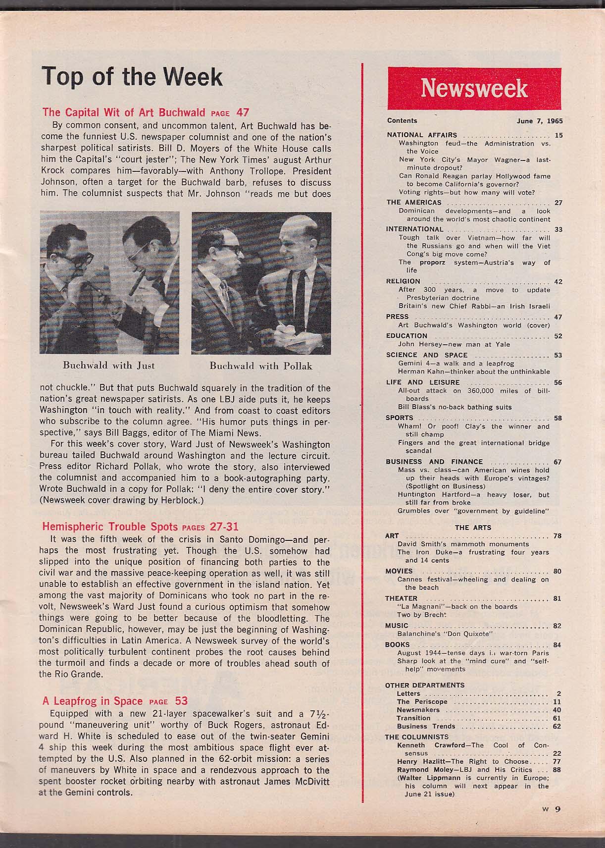 NEWSWEEK Art Buchwald Herblock cover Ronald Reagan Vietnam Gemini 4 + 6/7 1965