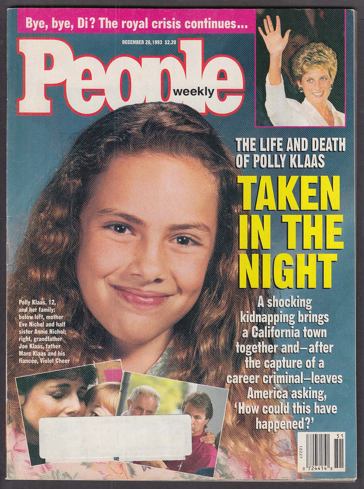 PEOPLE Weekly Princess Diana Polly Klaas ++ 12/20 1993