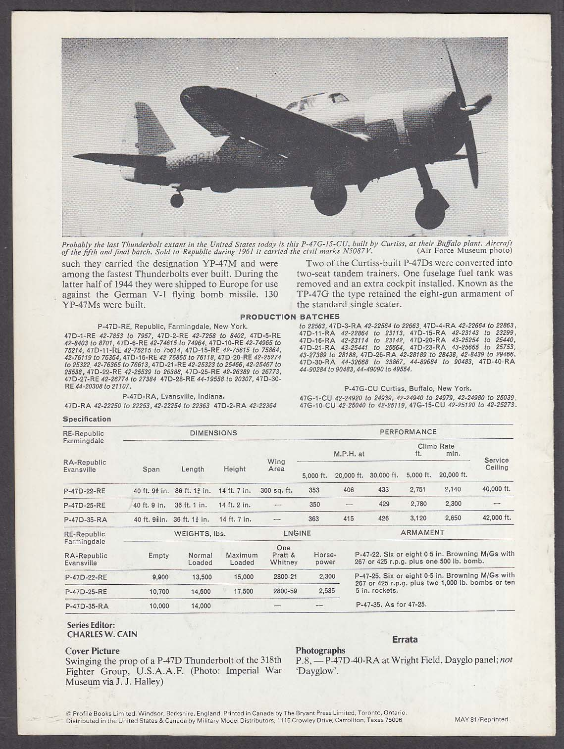 Profile Aircraft #7 Republic P-47D Thunderbolt booklet