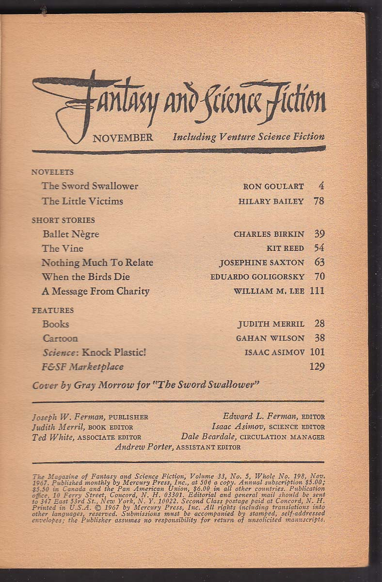 FANTASY & SCIENCE FICTION Ron Goulart Hilary Bailey Gray Morrow + 11 1967