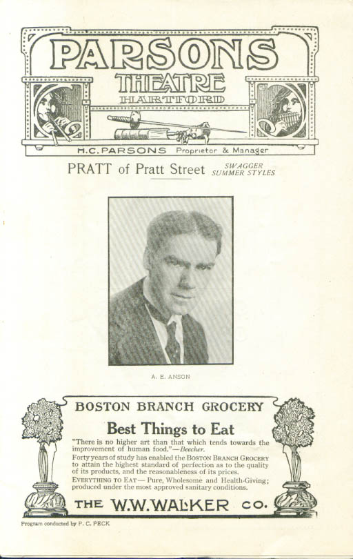 A E Anson Walls of Jericho Parsons Theatre program Hartford CT 1919