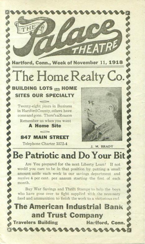 George M Cohan play at Palace Theatre Hartford CT 1918