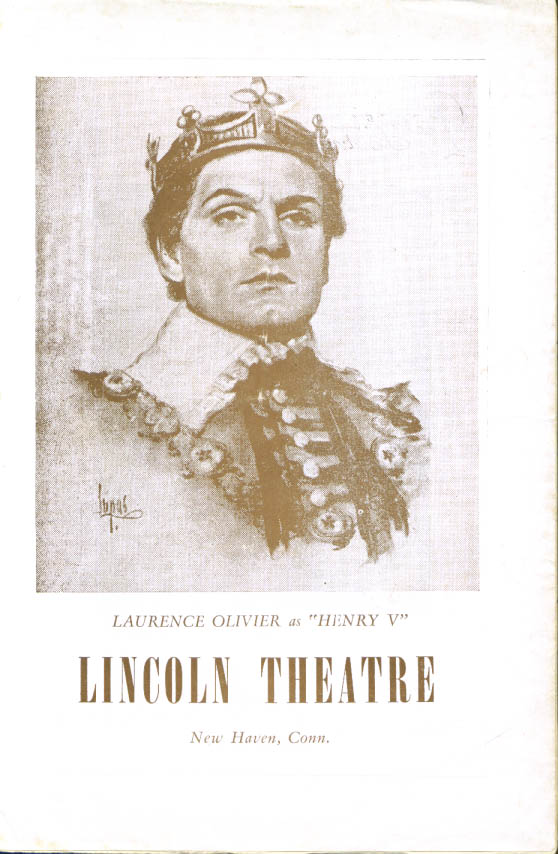 Image for Olivier Henry V Lincoln Theatre New Haven 1947 film program
