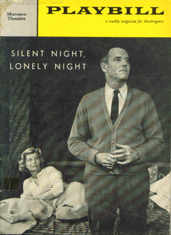 Henry Fonda Silent Night Lonely Night Playbill 1960