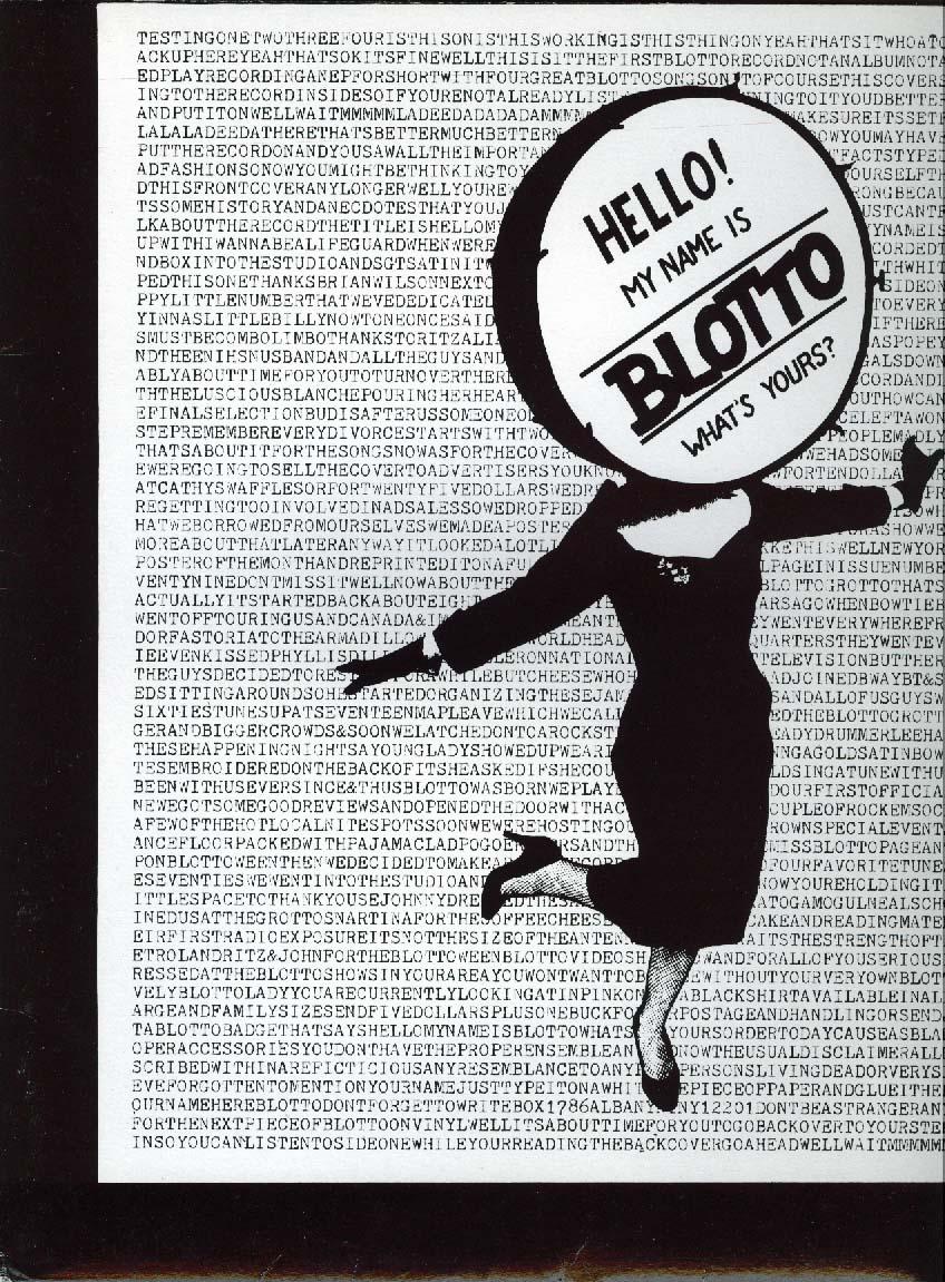 Blotto Hello My Name is Blotto Press Kit & 8x10 1980s