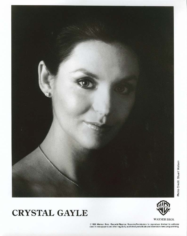 Crystal Gayle 8x10 & Warner Bros press release 1986