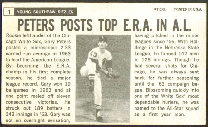 Gary Peters White Sox Topps Giant #1 1964
