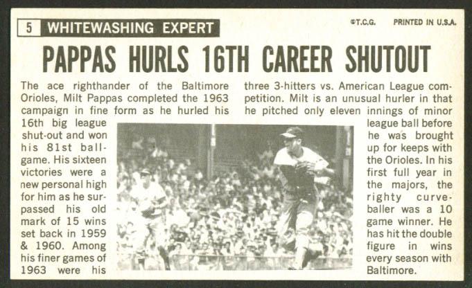 Milt Pappas Orioles Topps Giant #5 1964