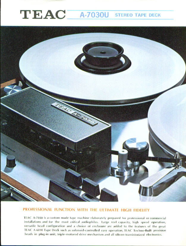 Teac A-7030U Stereo Tape deck sales folder 1960s