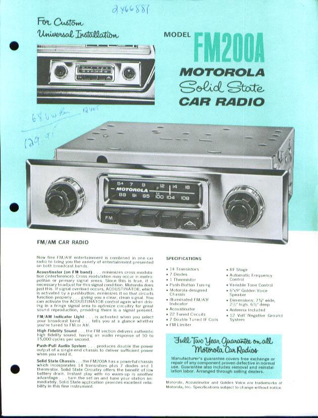Motorola Car Radio FM200A FMC62 sell sheet 1960s?