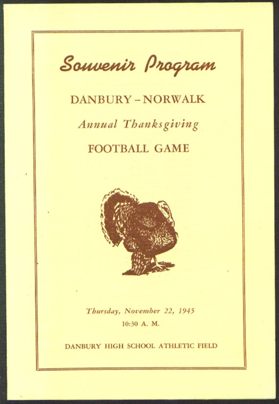 Danbury Norwalk CT Thanksgiving Football Program 1945