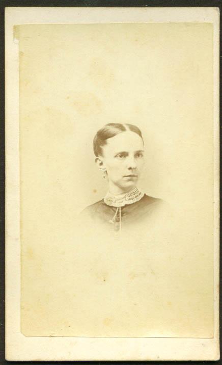 Thin-face woman lace collar CDV W Sawtell Wellington OH