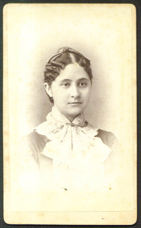 Center part hair & hat woman CDV F D Lewis: Kingston NY