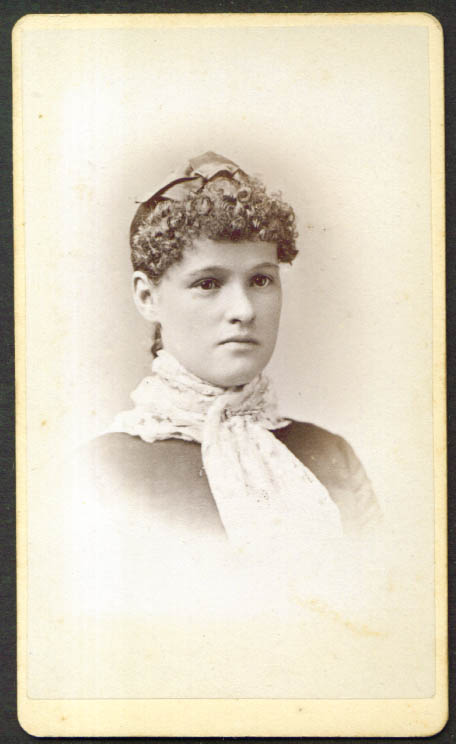 Very curly forehead & hat woman CDV Lewis: Kingston NY