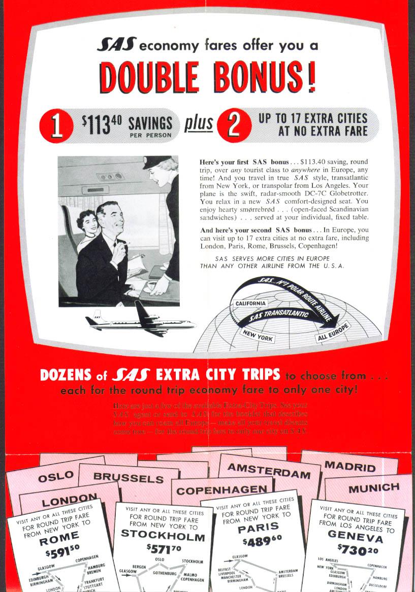 Image for S A S Europe Economy Fares folder 1958 SAS