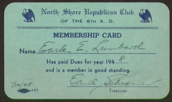 North Shore Republican Club Membership Card 1948 NY