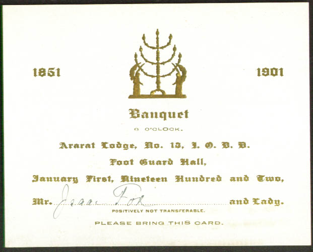 Isaac Fox ticket B'nai B'rith Banquet Hartford CT 1902