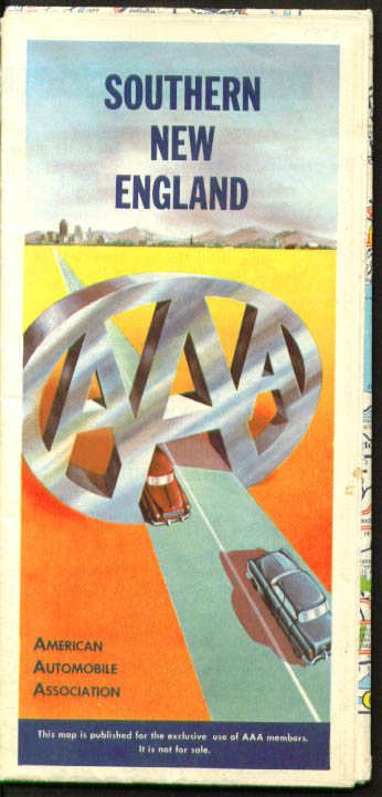 AAA Road Map Southern New England Spring 1955-1956 ed