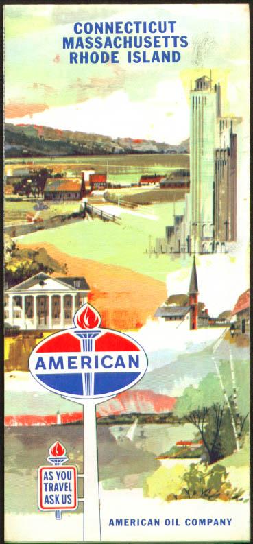 American Oil Company Road Map CT MA RI 1961