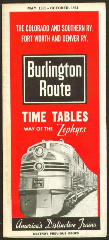 Image for Burlington Route Zephyr Time Tables 5-10/1961