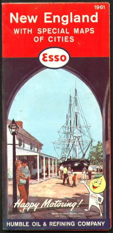 Esso Gasoline Road Map New England 1961
