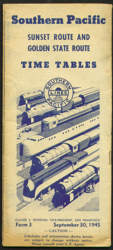 Southern Pacific Railroad Time Tables 9/30/1945