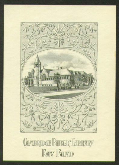 Cambridge Public Library Fay Fund bookplate 1910s Cambridge MA