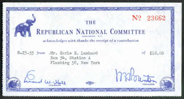 Republican National Committee Donation Receipt 1955