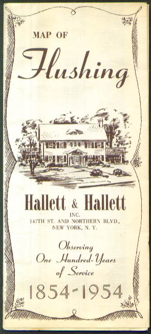Hallett & Hallett Funeral Home Road Map of Flushing NY 1954
