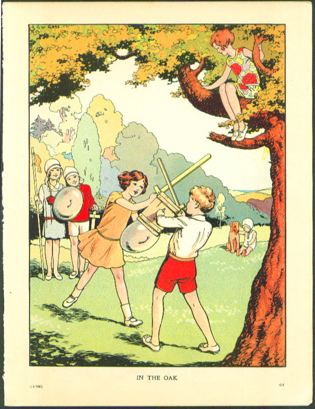 Boy & Girl Swordfight In the Oak color illustration 1920s