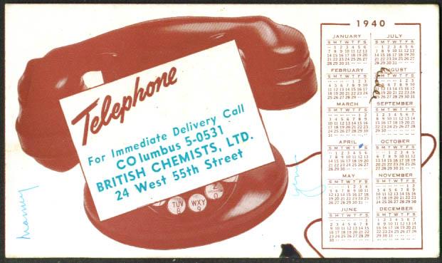 British Chemists New York City Blotter Calendar 1940