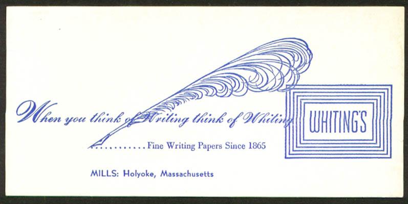 Whiting's Fine Writing Paper Holyoke MA blotter 1930s