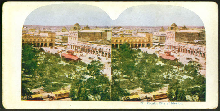 Panorama Central Square trolley Zocalo Mexico stereoview 1900s