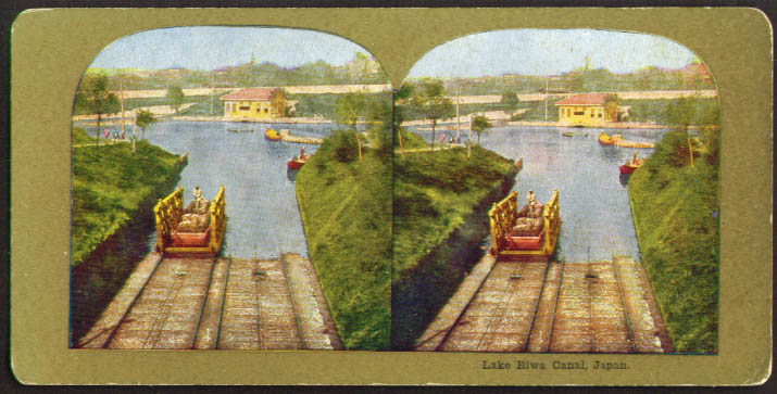 Boat in lock Biwa Canal Japan Pettijohn stereoview 1900s