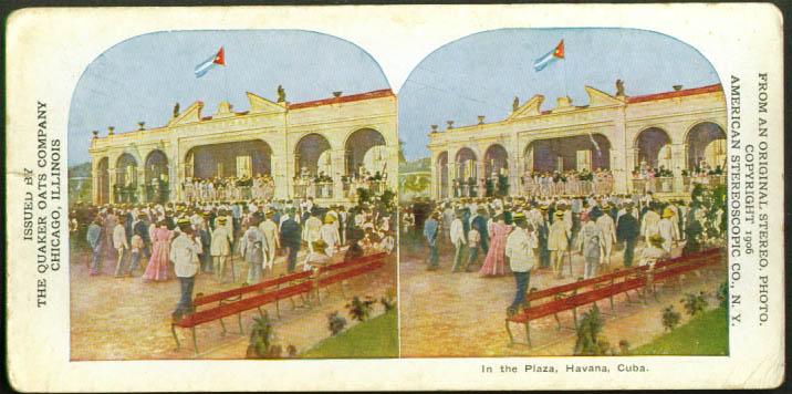 Crowd in Plaza Havana Cuba Pettijohn stereoview 1906