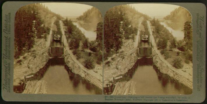 Steamboat Bandak Nordsjo Canal Norway stereoview 1905