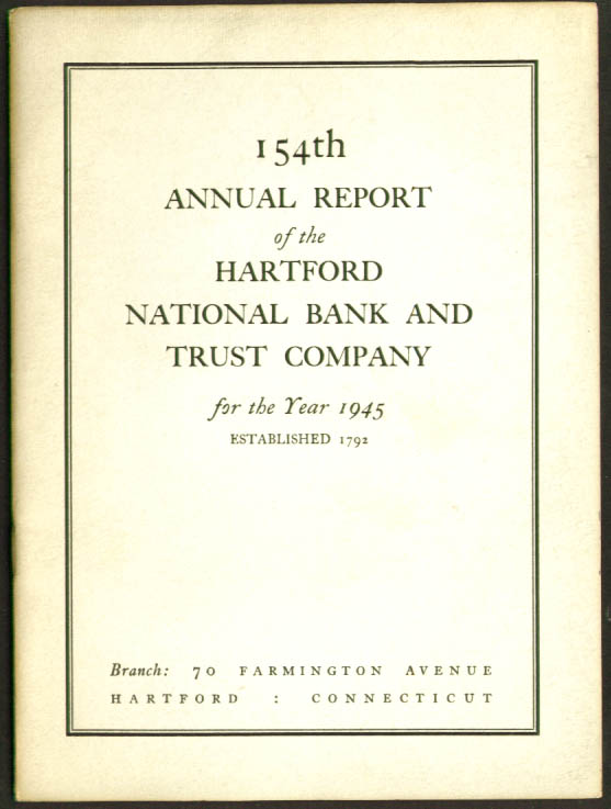Hartford National Bank & Trust Annual Report 1945