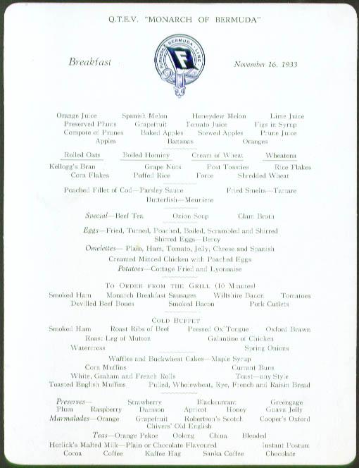 S S Monarch of Bermuda Breakfast Menu Card 11/16/1933