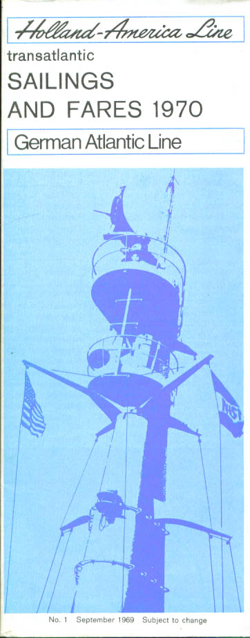 Holland-America Line Sailings & Fares brochure 1970