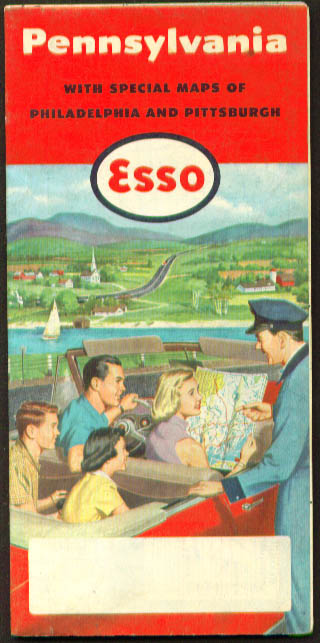 Esso Road Map: Pennsylvania 1954