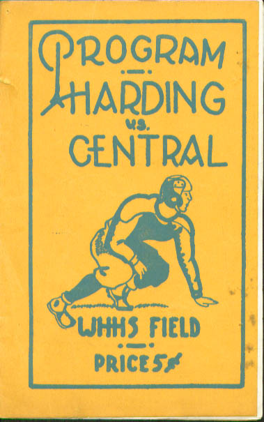 Image for Warren Harding Bridgeport Central Football Program 1940s