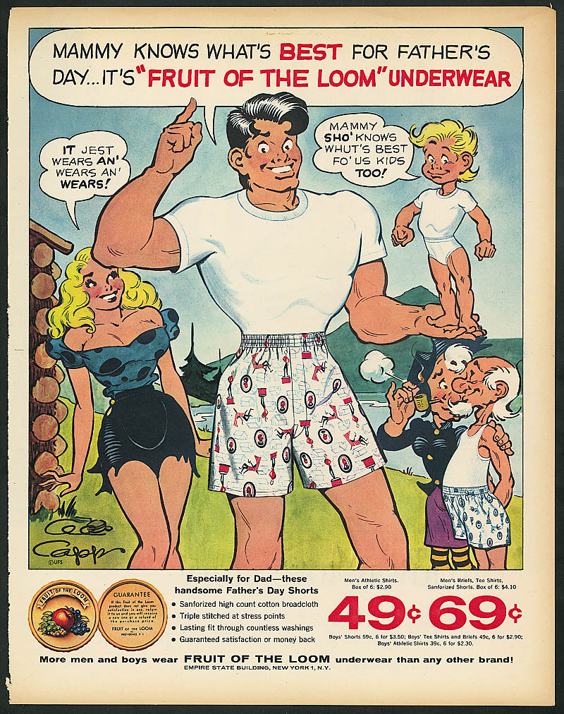 Image for Al Capp Li'l Abner for Fruit of the Loom ad 1957