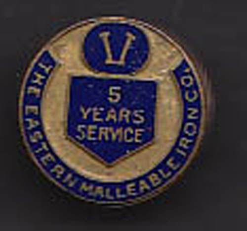 Eastern Malleable Iron Co 5-Year Service Pin 1940s