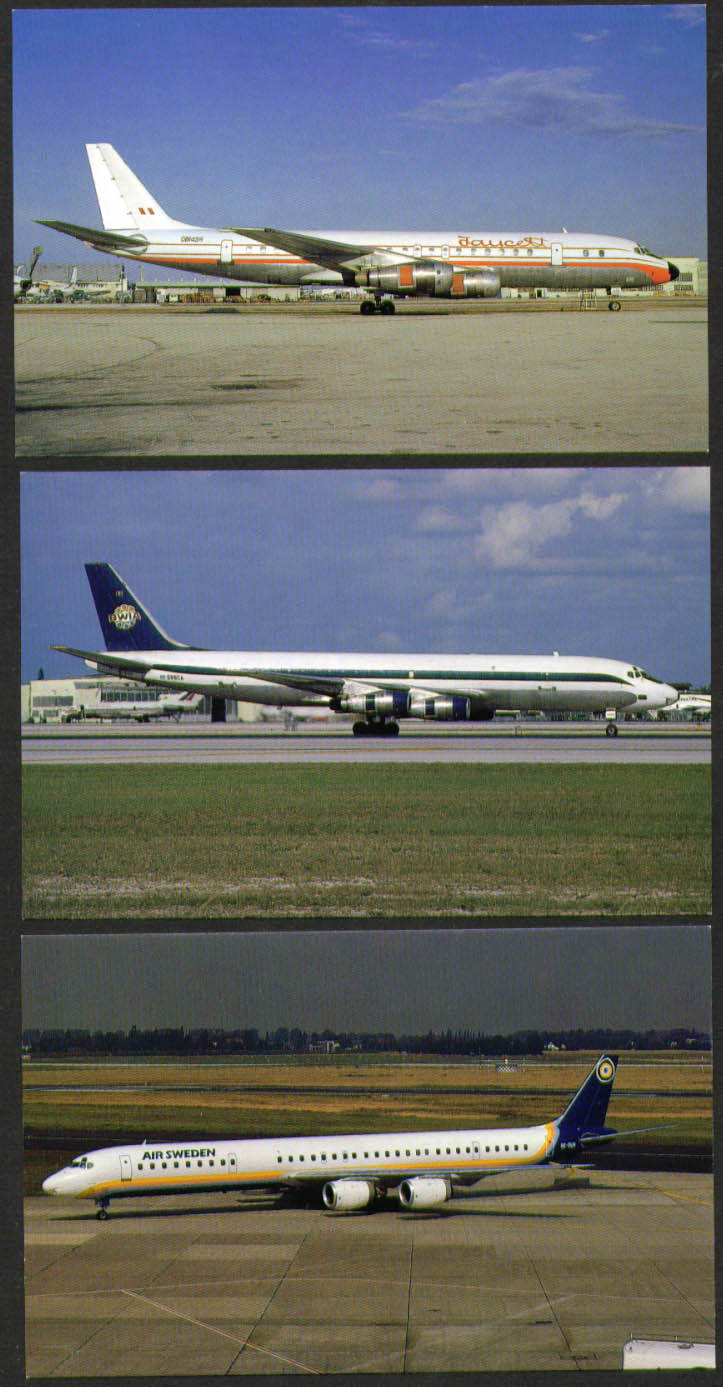 Douglas DC-8 postcard group Faucett Air Sweden BWIA