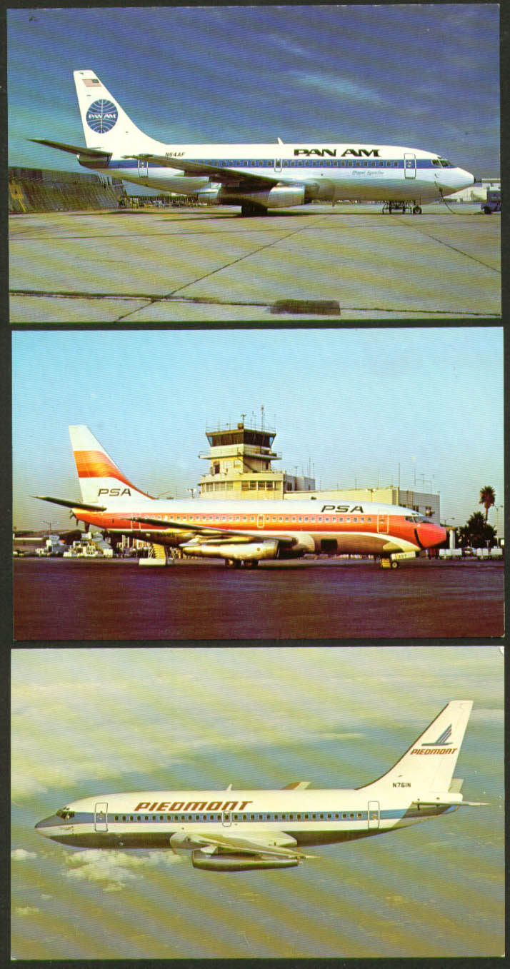 Image for Boeing 737 postcard group Piedmont Pan Am Pacific SW