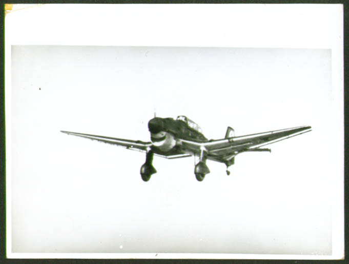 Image for Junkers Ju 87 B fighter plane photograph Germany 1930s