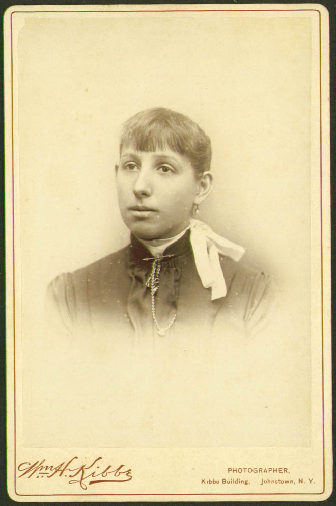 Woman stickpin cabinet card Wm H Kibbe: Johnstown NY